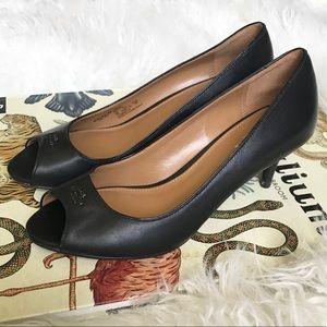 Coach Delilah black leather peep toe pumps heels